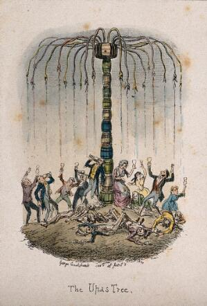 view People reaching for alcoholic drink falling from a pile of barrels of liquor likened to the upas-tree; skeletons litter the ground. Coloured etching by G. Cruikshank, c. 1842.