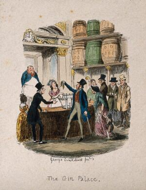 view A busy gin palace bar with customers buying drinks. Coloured etching by G. Cruikshank, c. 1842.