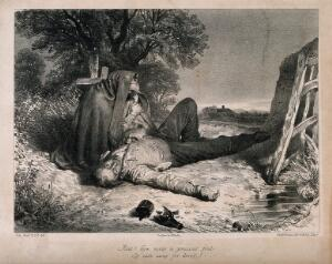 view A man lying dead on the ground with a broken bottle; a woman sits crying at his side. Lithograph by C. Schacher, c. 1845, after J. Faed.