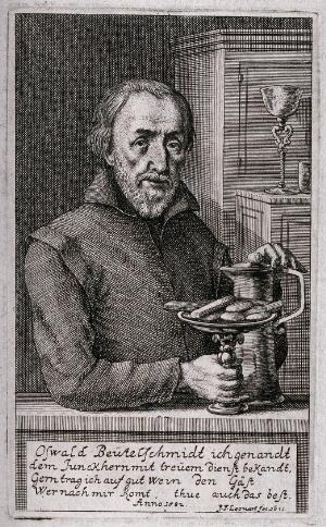 view Oswald Beutelschmidt, an innkeeper holding a tankard and a dish of food. Engraving by J.F. Leonart, 1671.