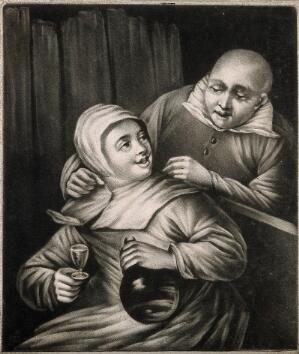 view A man leans over a seated woman who holds a glass and bottle in either hand. Mezzotint by J. Smith, 1702, after E. van Heemskerk.