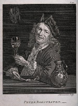 view Pieter Gerritsz van Roestraten sitting at a table with a jug, a drinking glass and a smoking pipe. Engraving by A. Bannerman, mid 18th century, after P. Roestraten.
