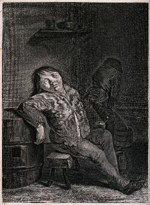 view Two peasants in a dingy ale-house; one sleeps on a bench and the other urinates in a bucket. Engraving by J. Groensveld after A. Brouwer.