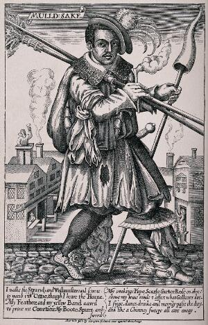 view John Cottington, a chimney-sweep, in elaborate costume walking the street with smoking pipe and horn in hand, with descriptive verse. Line block, 18--, after engraving, c. 1620.
