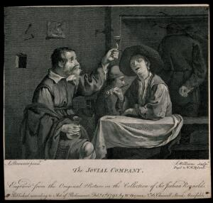 view Two men sit drinking and smoking at a tavern table. Engraving by J. Williams, c. 1792, after A. Brouwer.