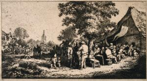 view A crowd outside a country tavern with market stalls and a church in the background. Etching by Deuchar (?), mid 18th century, after A. van Ostade (?).