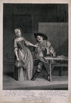 view A coachman holding a full tankard of beer in one hand and caressing a lady with the other; verses in Dutch, French and English below. Etching by J. Punt, 1756, after G. van der Myn.