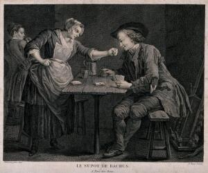 view A man sits at a table with playing cards and drink in hand, a serving girl leans over and plays the ace of spades. Engraving by F. Basan after Dumesnil, junior.