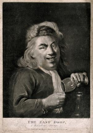 view A man pouring the last drop from his wine glass. Mezzotint, c. 1786.