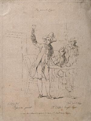 view A young man in tricorn hat raises his glass in a toast to his lover. Etching by C. Ryley, c. 1792, after E. Penny.