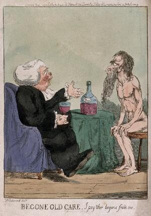 view A fat parson with large glass of port in hand is watched by a thin, naked man representing care (worry), and tells him to be gone. Coloured etching after G. Woodward, 1796.