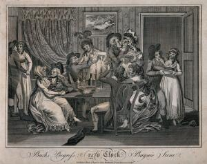 view Six fashionable young men after a drinking session, all with girls in their arms. Engraving, c. 1796.