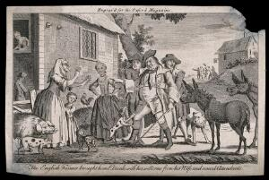 view A drunken farmer is brought home where he is met by his wife and various farm animals. Engraving, c. 1750 (?).