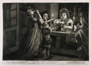 view Three women in a gin shop divert the landlady's attention while a match boy steals her money. Mezzotint, c. 1765.