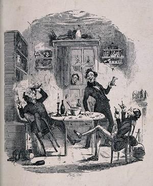 view Three drunken men carousing round a kitchen table. Etching, c. 1836, after H. K. Browne [Phiz].