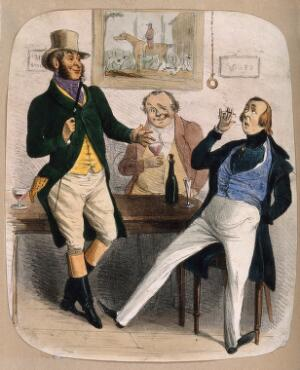view Two huntsmen and a dandy smoking and drinking round a table. Coloured lithograph.