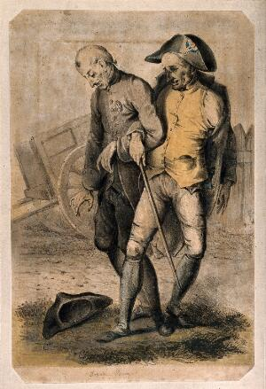 view Two drunken war veterans staggering along arm-in-arm. Coloured lithograph by E. Purcell.