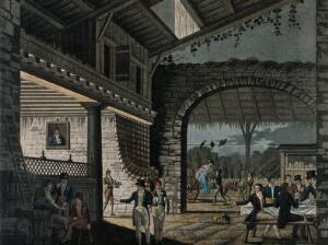 view An open tavern with large archway with drinks being brought to a table of diners and a lady alighting from her phaeton. Coloured aquatint, c. 1800.