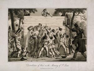 view Three men handing out wine from a high wooden structure to a drunken hoard clutching large jugs, etc. Aquatint, c. 1822.