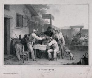 view A French tavern with men at a table in the open air drinking a toast to good health. Lithograph by F. Noël after L. Boilly, 1826.
