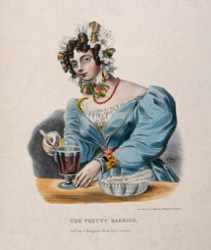 view A pretty barmaid mixing a drink in a glass. Coloured lithograph, c. 1825.