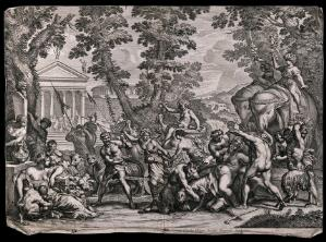 view A drunken procession of bacchanals and satyrs with Silenus (?) on a collapsed mule, a chariot pulled by leopards and two elephants at the rear. Etching by P. Aquila after P. Berrettini, 17th century.