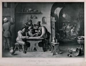 view A Dutch country tavern with a drinker being given encouragement, a group by the fire and a serving man chalking up orders. Lithograph by F. Hanfstaengl, 1836, after D. Teniers.