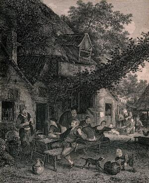 view Six men and a woman drink and smoke round a table outside a country tavern, behind them children watch a woman pump water. Engraving.