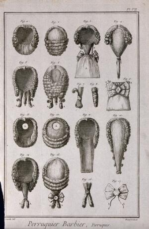 view A variety of wigs. Engraving by R. Bénard after J.R. Lucotte, 1762.