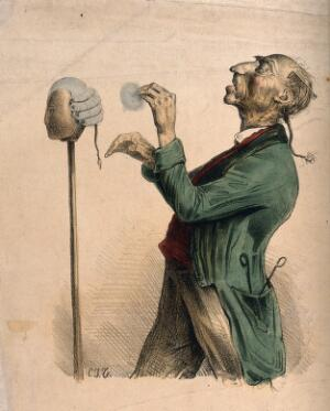 view A hairdresser powdering a wig on a stand. Coloured lithograph by C.J. Travies de Villers.