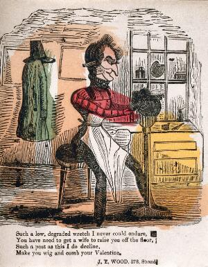 view A barber dressing a wig. Coloured wood engraving.