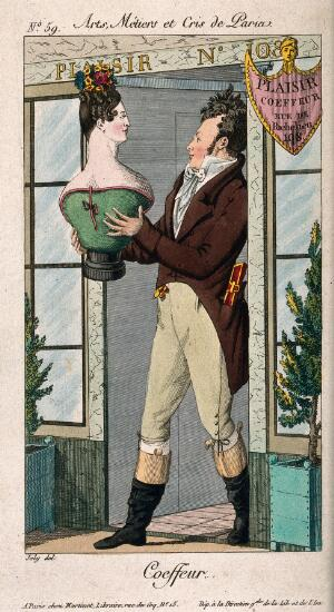 view A hairdresser holding a bust of a woman with an elaborate hairstyle. Coloured engraving by A. Joly, ca. 1813.