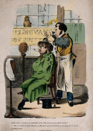 view An uncouth man smoking a pipe while having his hair cut, asks the barber for his opinion on wigs and natural hair. Coloured lithograph.