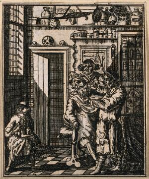 view A barber-surgeon's shop in which a man's hair is being cut. Etching, 16--.