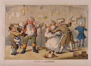 view A barber shaving a disgruntled man. Coloured etching after H.W. Bunbury.