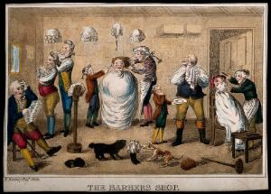 view A barber's shop. Coloured etching after W.H. Bunbury.