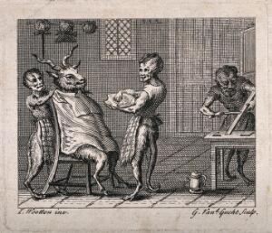 view Half-human, half-monkey barbers shaving a goat. Etching by G. van der Gucht after J. Wootton.