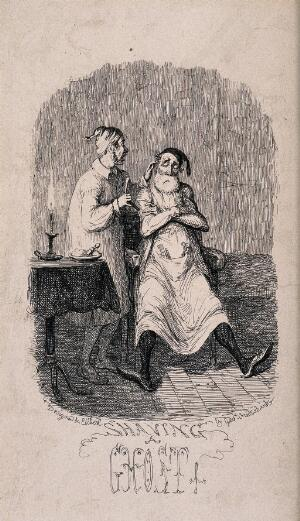 view Two figures: one on the left standing and holding a razor; the other seated. Etching by G. Cruikshank after himself.