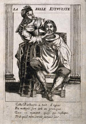 view A female barber preparing to shave a man. Engraving after J. Lagniet, 16--.