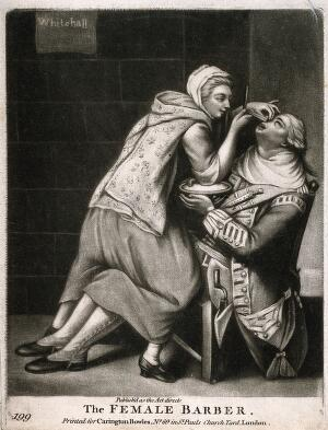 view A female barber shaving a soldier. Mezzotint after J. Dixon.