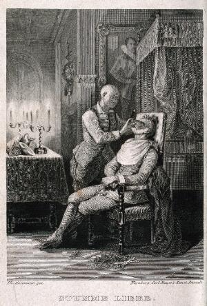 view A barber shaving a man in a candlelit bedroom. Engraving by T. Hosemann.