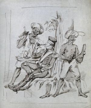 view A barber wearing a turban preparing to shave a seated officer who leisurely smokes a cigar; another assistant, also wearing a turban, polishes boots. Ink drawing.