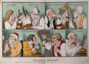 view A sequence of eight images showing men shaving. Coloured etching, 1796, by G.M. Woodward after himself.