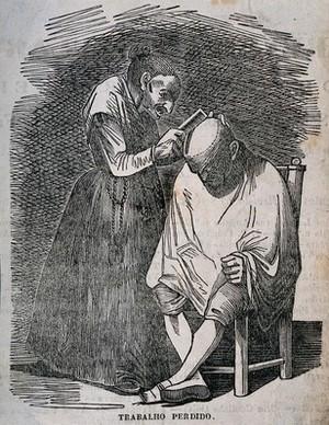 view A female hair-dresser combing a man's hair. Wood engraving.