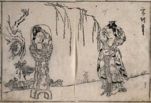 view A Chinese woman in a garden dressing her hair in a mirror on an elaborate stand. Woodcut attributed to Morikuni.