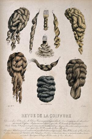 view Ten different types of wigs and hair pieces. Coloured engraving, 1875.