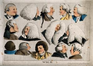view Fourteen heads showing different types of wigs. Coloured etching, 1773.