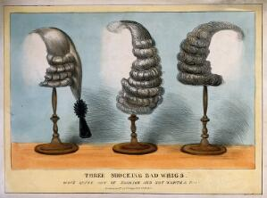 view Three men's wigs on stands. Coloured lithograph.