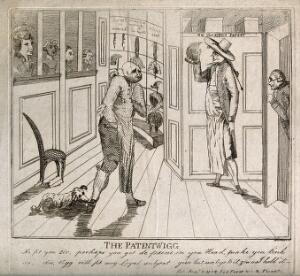view A bald-headed Charles James Fox in a wig shop (a dog is attacking his shoe) being shown a wig by the perruquier; to the right Edmund Burke is eavesdropping behind a door. Etching by Wetherell, 1793.