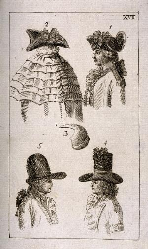 view Five illustrations showing different styles of hats and wigs. Etching.